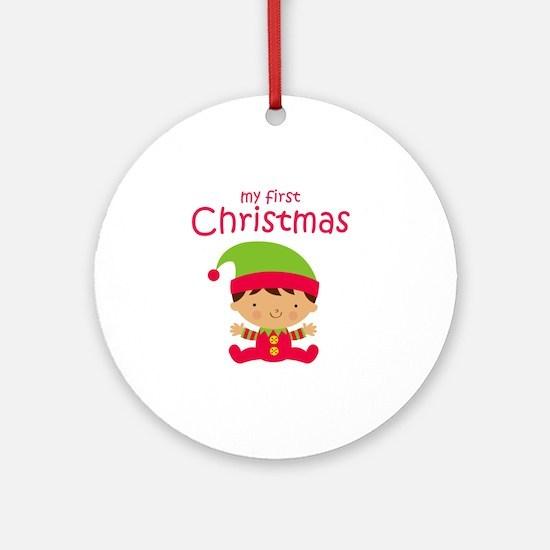 Latino Boy 1st Christmas Round Ornament