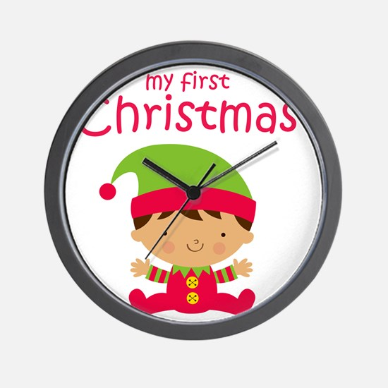 Latino Boy 1st Christmas Wall Clock