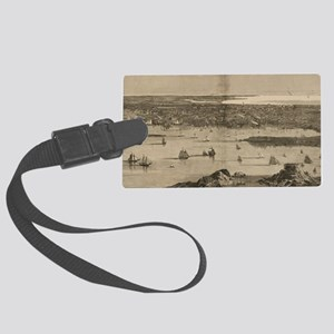 Vintage Pictorial Map of Newport Large Luggage Tag