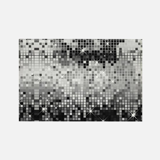 Disco Mirrors in Black and White Rectangle Magnet