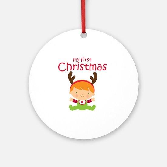 Reindeer Boy 1st Christmas Round Ornament