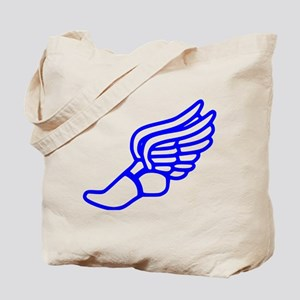 Blue Running Shoe With Wings Tote Bag