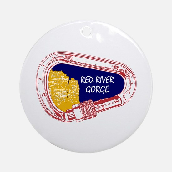 Red River Gorge Climbing Carabiner Round Ornament