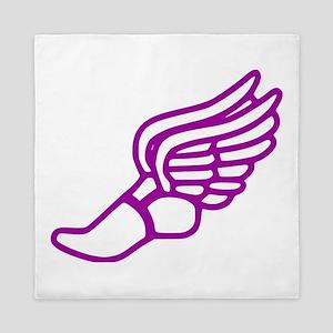 Purple Running Shoe With Wings Queen Duvet