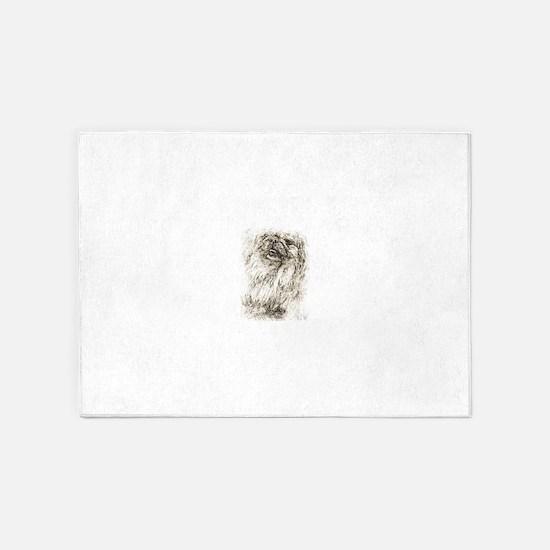 Pekingese Portrait 5'x7'Area Rug