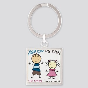 Siblings By Birth Square Keychain