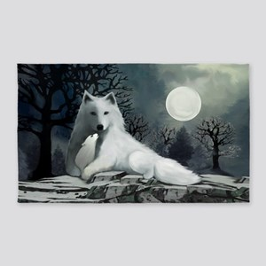 White Wolf with Pup 3'x5' Area Rug