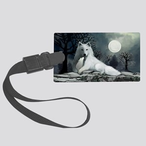 White Wolf with Pup Large Luggage Tag