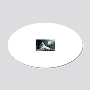 White Wolf with Pup 20x12 Oval Wall Decal