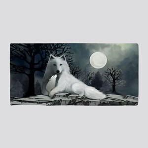 White Wolf with Pup Beach Towel