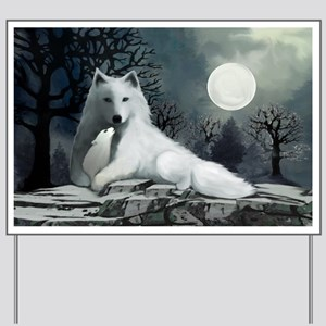 White Wolf with Pup Yard Sign