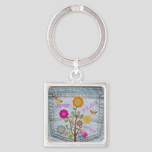 Denim Pocket Peace Love Hope Square Keychain