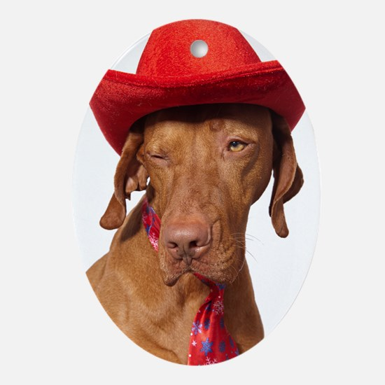 Christmas cowboy dog Oval Ornament