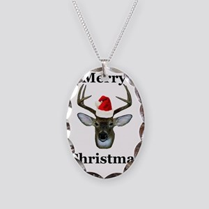 xmas deer front Necklace Oval Charm