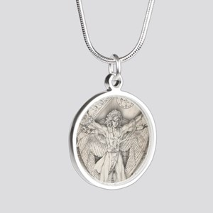 Uriel allover Silver Round Necklace