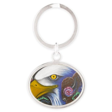 Watch Over Us Oval Keychain