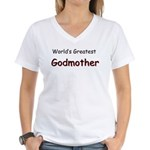 Greatest Godmother Women's V-Neck T-Shirt