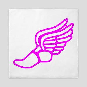 Pink Running Shoe With Wings Queen Duvet