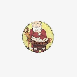 Santa & Baby Jesus Mini Button
