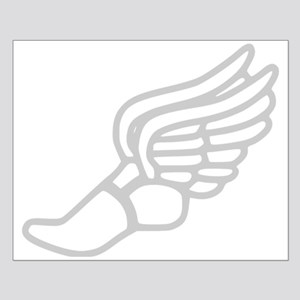 Grey Running Shoe With Wings Poster Design