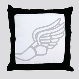 Grey Running Shoe With Wings Throw Pillow
