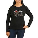 "Women's Long Sleeve Dark T-Shirt ""I love Cats"""