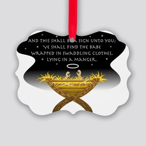 Christmas Manger Picture Ornament