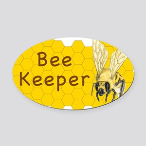 Bee Keeper Sticker Oval Car Magnet