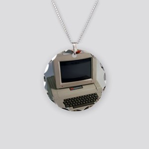 Apple II computer Necklace Circle Charm