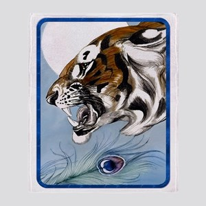 IPAD  Wild Tiger In Moonlight Throw Blanket