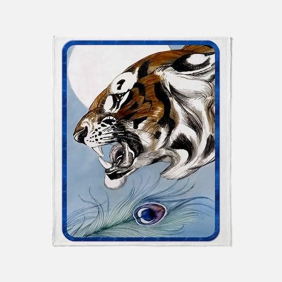 IPAD  Wild Tiger In Moonlight Throw Blanket