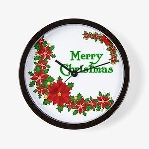 Christmas poinsettias Wall Clock