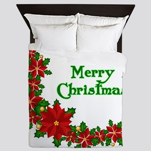 Christmas poinsettias Queen Duvet