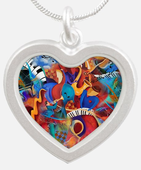 Jazz Musicians Blues Band Silver Heart Necklace