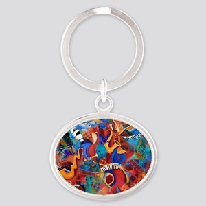 Jazz Musicians Blues Band Oval Keychain