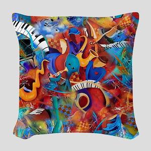 Jazz Musicians Blues Band Woven Throw Pillow