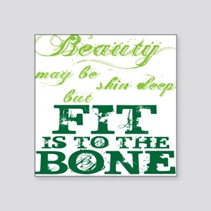 "Beauty - Green Square Sticker 3"" x 3"""
