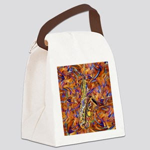 Sax In The City Jazzy Music Paint Canvas Lunch Bag