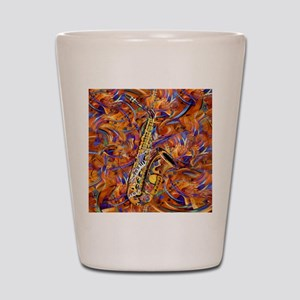 Sax In The City Jazzy Music Painting Shot Glass