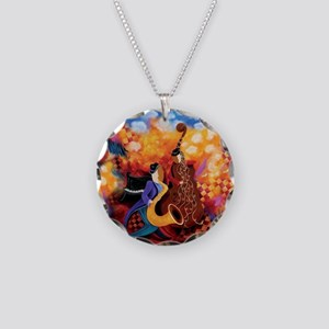 Colorful Hot Jazz Music Band Necklace Circle Charm