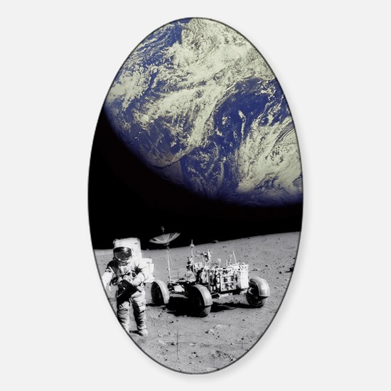 Astronaut on Moon with Earth Sticker (Oval)