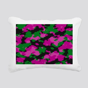 Pink Camouflage print Rectangular Canvas Pillow