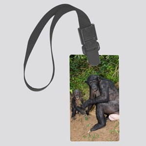 Bonobo ape mother and young Large Luggage Tag