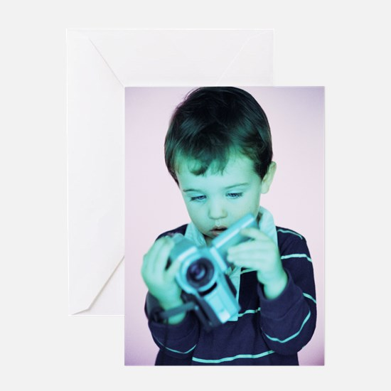 Boy with video camera Greeting Card