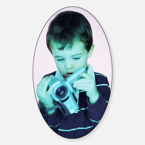 Boy with video camera Sticker (Oval)