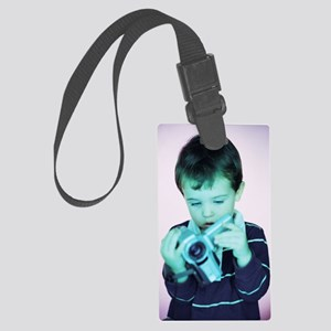 Boy with video camera Large Luggage Tag