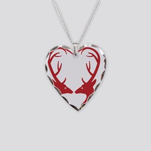 Christmas deers with heart sh Necklace Heart Charm