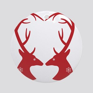 Christmas deers with heart shaped a Round Ornament
