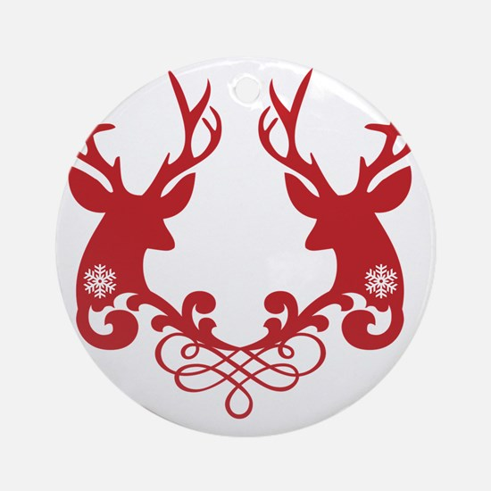 Christmas deer heads with ornaments Round Ornament