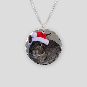 Bunny Christmas Ornament Necklace Circle Charm